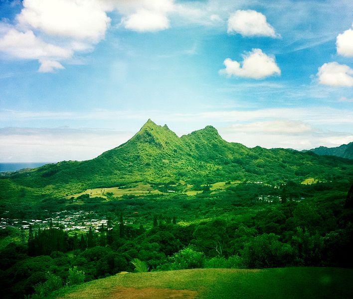 "Olomana, Hawaii's ""Matterhorn"", on the Windward side of Oahu. Photo by Travis Thurston."