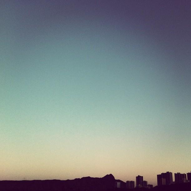 Le'ahi (Diamond Head) at dusk.