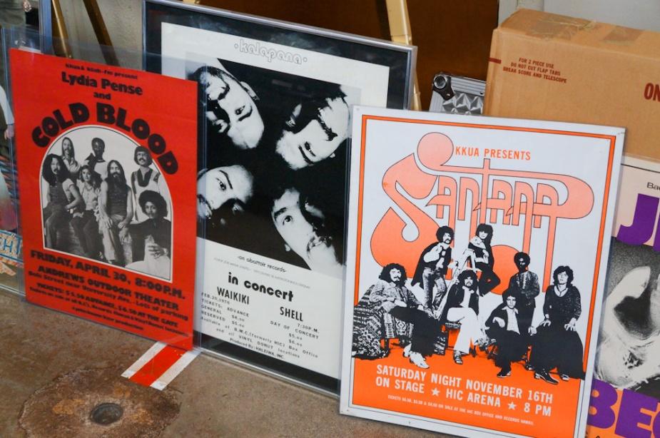 Vintage Hawaii concert posters.