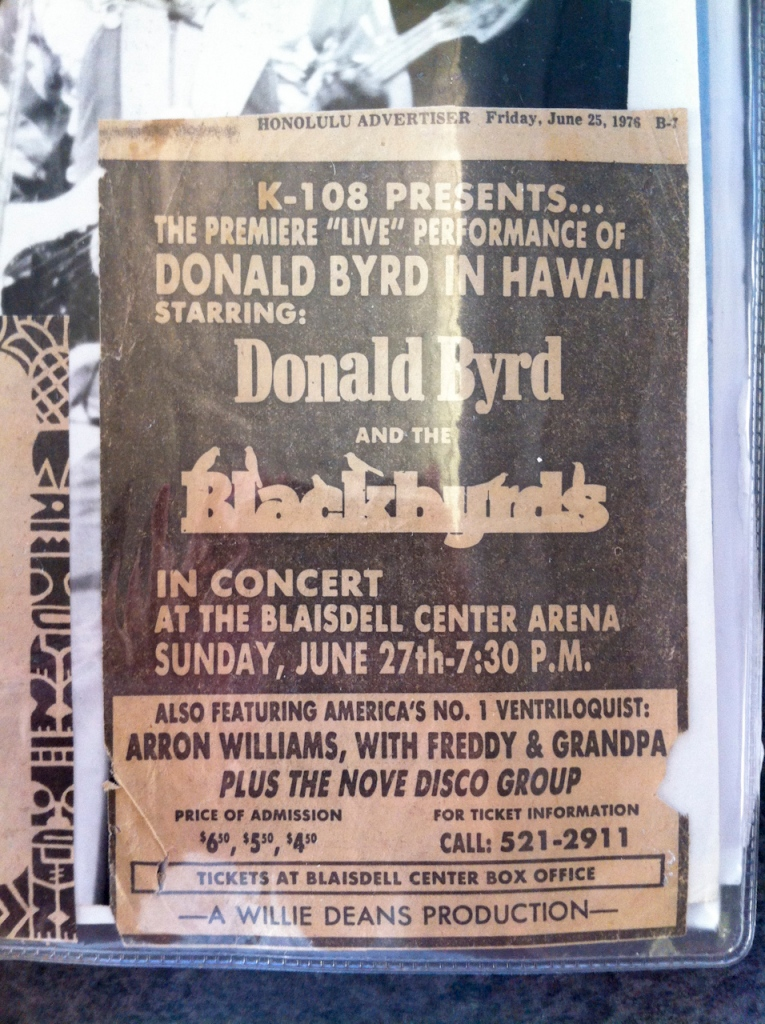 "Nova performed with Donald Byrd and the Blackbyrds (here, mispelled as ""Nove"")."