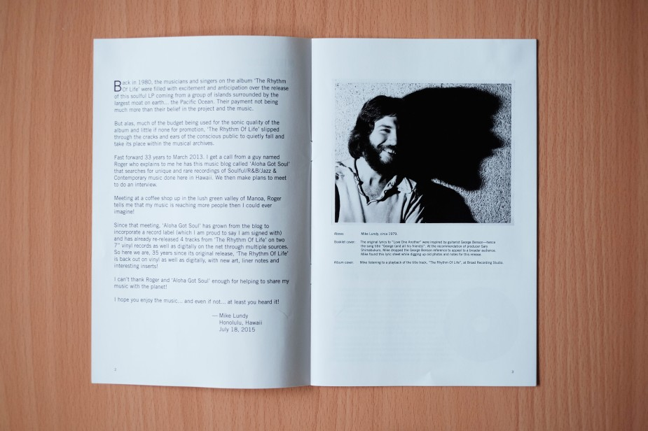 Mike Lundy's personal essay featured in the opening spread of the booklet, plus a photo of Mike circa 1979.