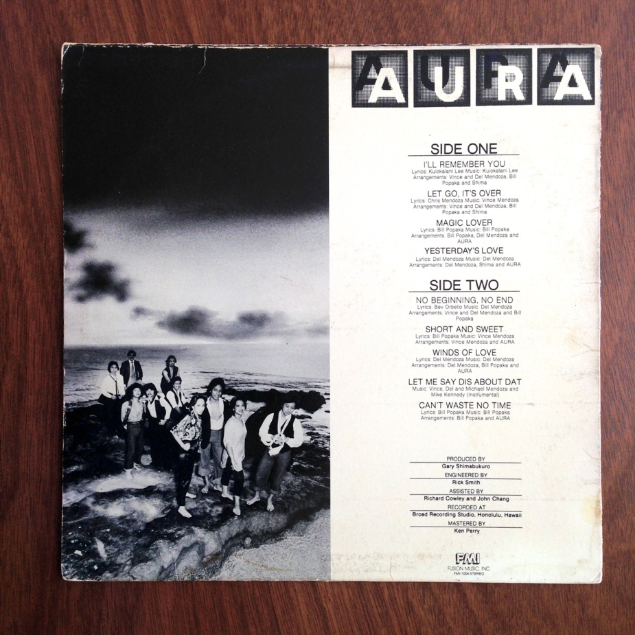 The back cover of the original Aura LP, featuring a photograph of the band used for AGS-7003 and also the Strut compilation.