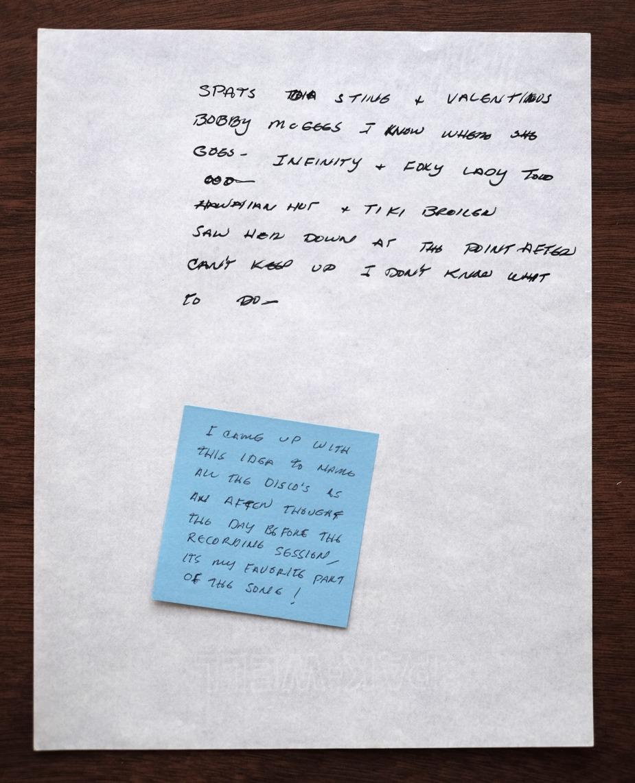 "Original handwritten lyrics to ""My Last Disco Song""."